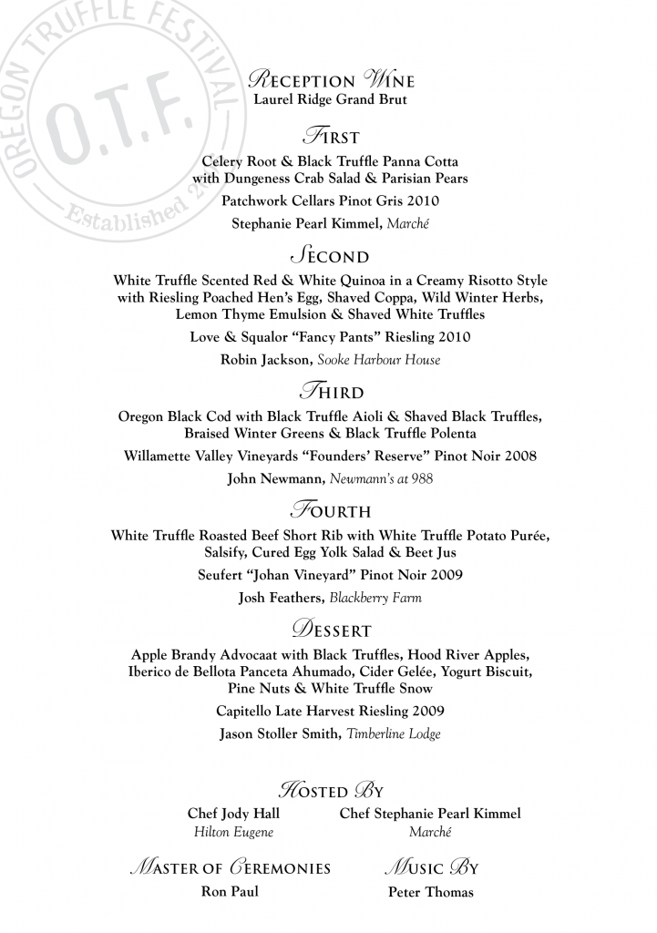 Grand Truffle Dinner Menu 2012