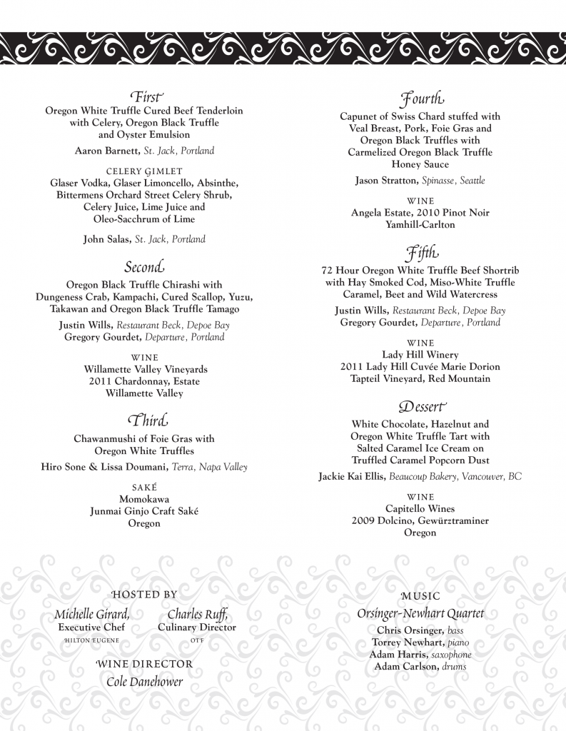 Grand Truffle Dinner Menu 2014