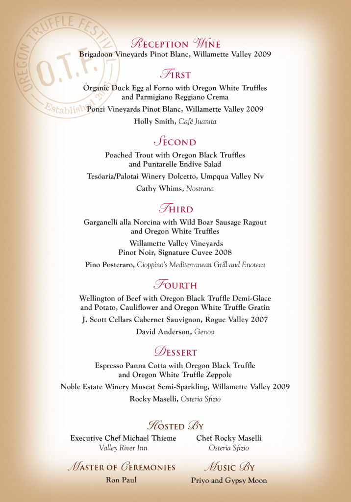 Grand Truffle Dinner Menu 2011