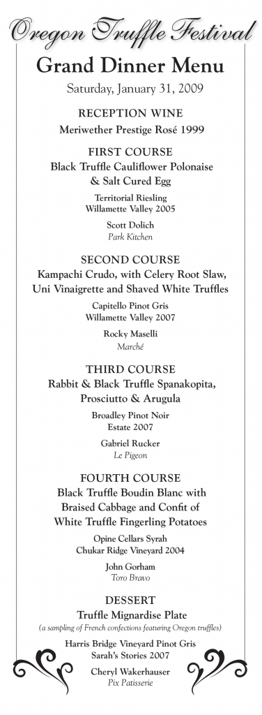 Grand Truffle Dinner Menu 2009