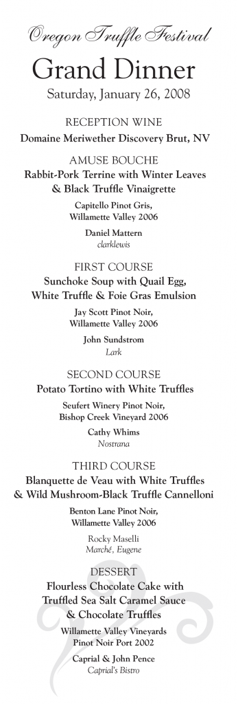 Grand Truffle Dinner Menu 2008