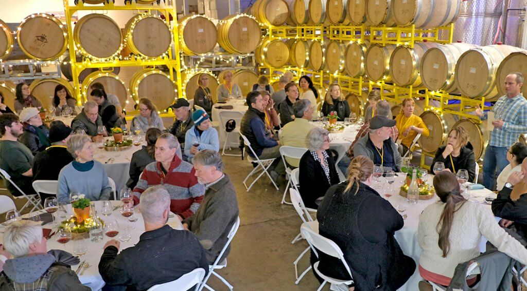 Iris Vineyards' barrel room was the site for a post truffle foray luncheon.  – Photo by David Barajas