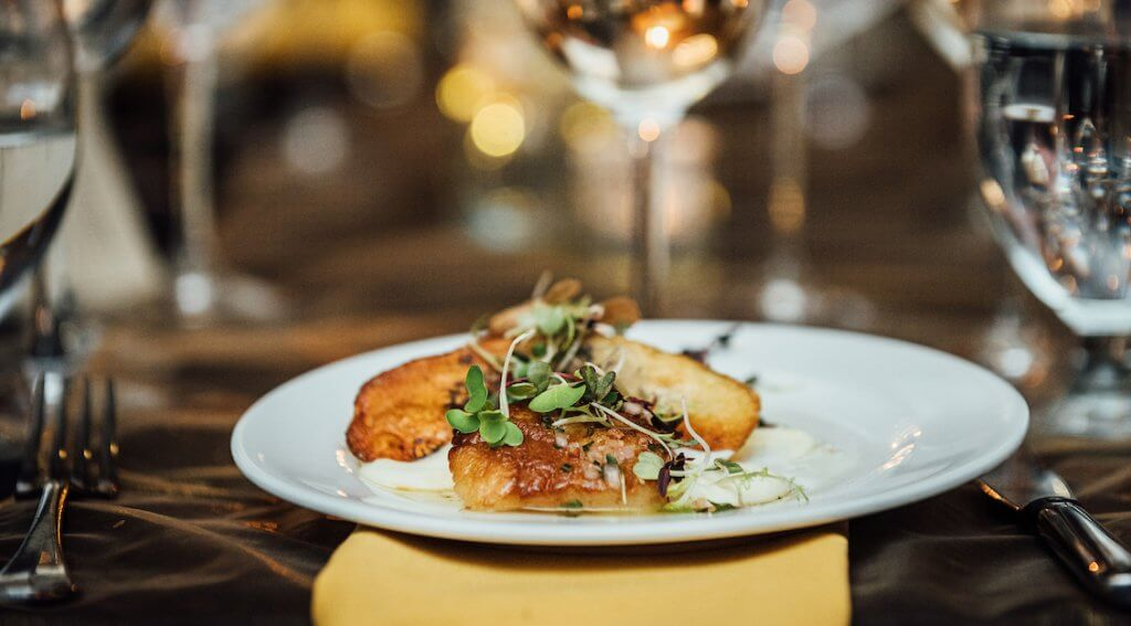 Chef Ben Jones' Pan-Roasted Alaskan Weathervane Scallop made for a memorable third course at the Grand Truffle Dinner. – Photo by Kathryn Elsesser