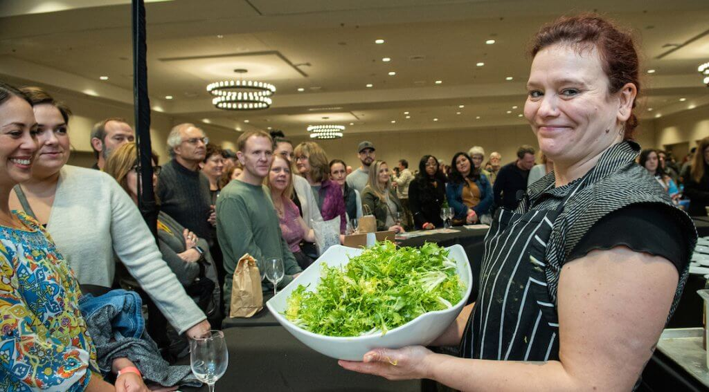 This Cooking Demonstration at the Marketplace was extra fun with Chef Emily Lesiak. See the next photo in line for full creation.  – Photo by Kathryn Elsesser